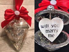 Vuoi sposarmi in vetro cuore Xmas tree bauble, Fidanzamento proposta RICORDO