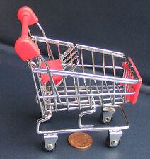 Dolls House miniatura Rosso & Chrome Shopping Trolley Carrello & Seggiolino Per Bambini Accessorio L