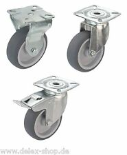 Apparaterollen Gummi grau Platte 50 75 100 125 Lenkrolle Transportrolle Bremse