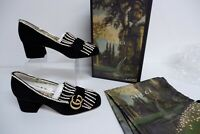 Gucci Marmont GG Suede Heel Shoes, Crystal, 501002 20248e Size Uk 4 Eu37 NEW