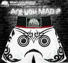 "Mad Muay Thai Satin Shorts-White- ""Are You Mad? -Size L"