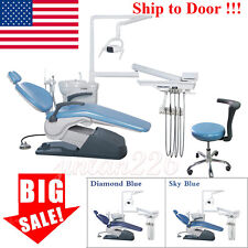 Dental Unit Chair Hard Leather Computer Controlled Dc Motor Chair Stool Sky Blue