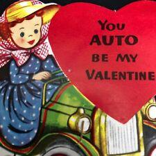 Valentines Day Card +Original Envelope Automobile Antique Car Auto Vtg 1940s 50s