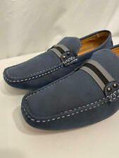 NWOB Brixton Brand Mens Moccasins Driving Loafers Shoes Slate Blue Nubuck Leathe