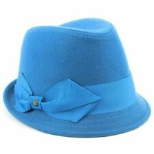 Womens Wool Trilby Hat Hawkin Short Brim Large Side Bow Blue Navy Red Brown New