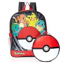 "Pokemon 16"" Boy Large Backpack With Detachable Pokeball Lunch Bag"