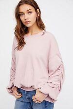 Free People Pink femme Natasha Pullover Sweatshirt Size Small S NWT NEW