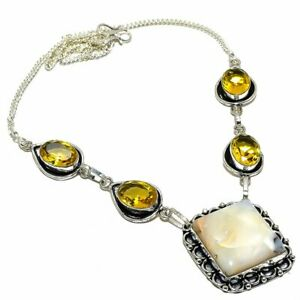 "Plume Agate, Citrine Gemstone Handmade Jewelry Necklace 18"" NLG3569"