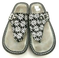 Alegria Black Leather Floral Slide Thong Sandals Shoes Women's 37 / 7 - 7.5