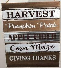 "Wood Sign Fall Harvest Pumpkin Patch Apple Cider Corn Maze Giving Thanks 19"" NEW"