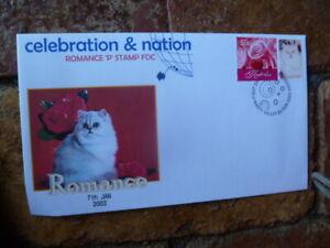 2003 CELEBRATION & NATION FLUFFY WHITE CAT  P-STAMP COVER