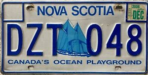 Nova Scotia Bluenose Yacht Canadian License Canada Licence Number Plate DZT 048