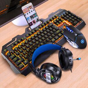 Golden Wolf Gaming Tastatur-Set mit Kopfhörer und Maus - RGB LED Leuchten