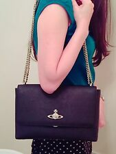 Vivienne Westwood Saffiano Leather Flap Shoulder/Crossbody Handbag - Black