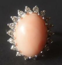 Vintage 14K White Gold Ring With Angel Skin Coral And Diamonds Size 6