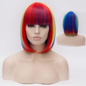 Women Wig Short Multicolor Rainbow Straight Cosplay Party Hair Full Wig+Wig Cap