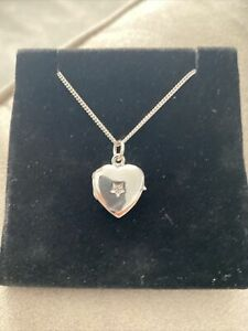 Sterling Silver Necklace Heart Locket With Real Diamond Detail