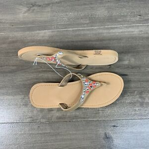 New Women's Sandals Thong Flip Flops Embellished Slippers Size 10 Tan