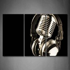 Framed Headphone Microphone Wall Art Painting Picture Canvas Print Pictures