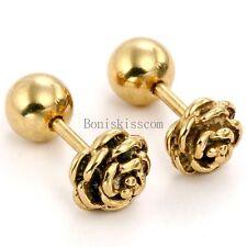 Charm Rose Flower Shape Stainless Steel Stud Earrings Bead Ball Screw Back