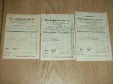 3 ANTIQUE 1907 Lakewood Coal Company Hird Street Ohio Coke Fuel Invoices Detroit