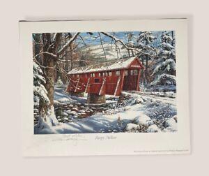 "William Mangum Signed ""Sleepy Hollow"" Winter Scene 1997 Reprint 8""x 10"""