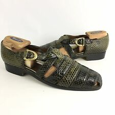 Giorgio Brutini Sandals Shoes Private Collection Genuine Snake Skin 10.5 D Green