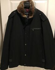 Mens's Andrew Marc Wool Jacket With Rabbit Fur Collar