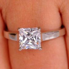 1,60 Carat 585er Solide Echt Weiß Gold Prinzessin Form Solitär Hochzeits Ring