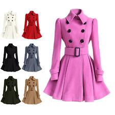 Women's Winter Lapel Coat Dress Jacket Long Outwear Flared Dress Jackets Coat