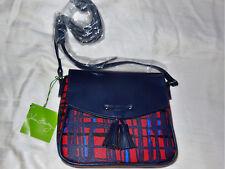 NWT Vera Bradley TASSEL CROSSBODY in NAVY/RED ART PLAID purse 14881-335