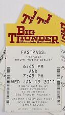 Disney FASTPASS Walt Disney World Fast Pass Ticket BIG THUNDER MOUNTAIN 6:45