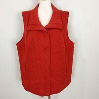 EILEEN FISHER Women's Size 3X Orange Zip Front QUILTED VEST Knit Cotton