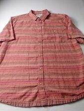 Mountain Khakis Mens Shirt Sz 2XL Pink Coral Short Sleeve Button Up Geometric