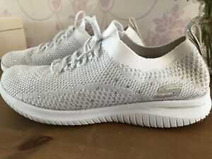 Womens SKECHERS White Sequin Memory Foam White Trainers Size 6