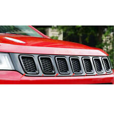 For 2017-2019 Jeep Compass Black ABS Front Grille Grill Insert Cover Trim 7PCS
