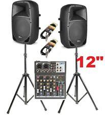 IMPIANTO AUDIO SISTEMA ATTIVO 1000w 2 casse amplificate + mixer + stativi e cavi