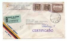 ECUADOR: Registered airmail cover to Denmark 1953.