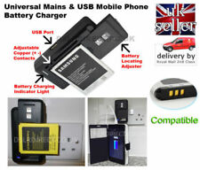 Universal Mobile Phone Battery Charger UK Wall Socket + USB. UK Free Postage.