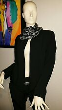 EILEEN FISHER 6P  BLACK TROPICAL SUITING WITH ECO POLY RNDNK STRGHT JKT  $358