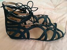 Gentle Souls Black Suede Gladiator Sandals 8
