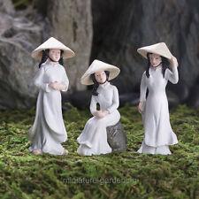 Ao Dai Girls, 3 Piece Set for Miniature Garden, Fairy Garden