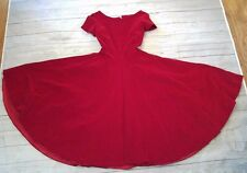 VTG 40s 50s Pinup Housewife Velvet Velour Red A-Line Rockabilly Dress XS/S
