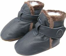 carozoo booties dark blue 2-3y C1 soft sole leather baby shoes