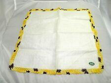 Vintage Ivory Colored Yellow & Brown Crocheted Irish Linen Handkerchief