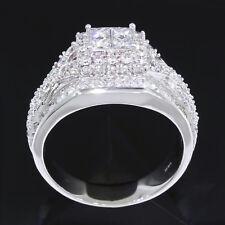 3 carat tw Princess Cut and Round Diamond 14k White Gold Ring Framed Quad ct