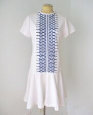 Vtg 70s white poly knit drop waist flutter skirt dress India style embroidery 14