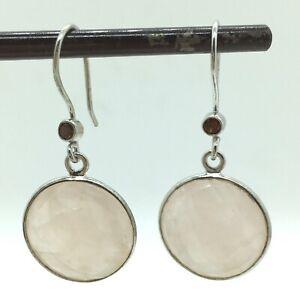 Rose Quartz Earrings Garnet Bezel Pierced Hook Sterling Silver 925