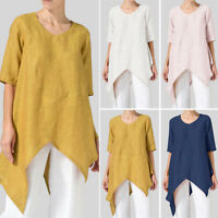 ZANZEA 8-24 Women Short Sleeve Top Tee T Shirt Asymmetric High Low Tunic Blouse