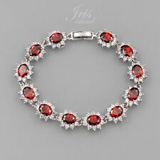 7.5 In White Gold Plated Ruby Red Cubic Zirconia CZ Tennis Bracelet 6317 Wedding